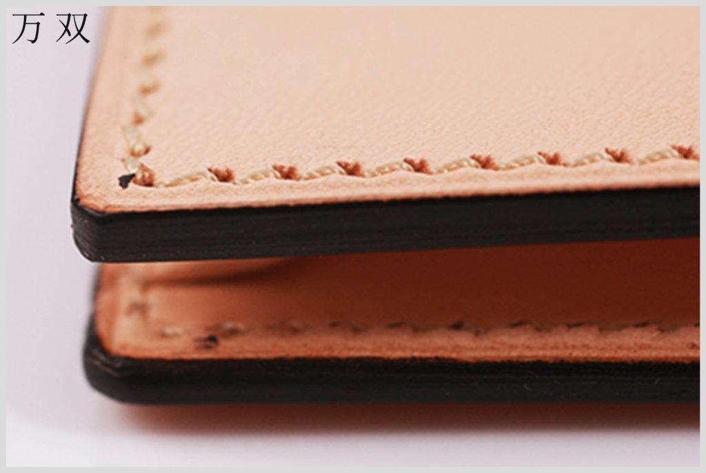 万双の財布のコバと縫製の画像