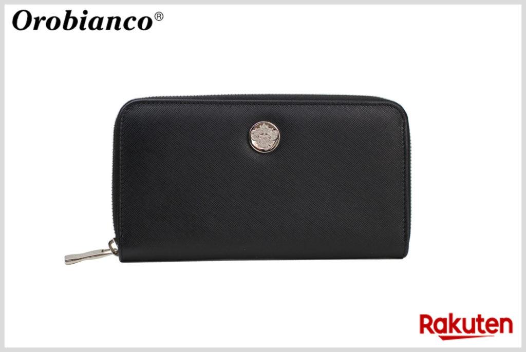 オロビアンコのロゴプレート付きのラウンドファスナー長財布