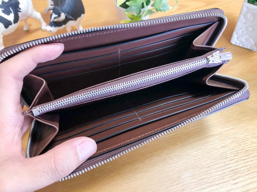 ブリランテ×クロコダイル ラウンドジップ長財布の内装