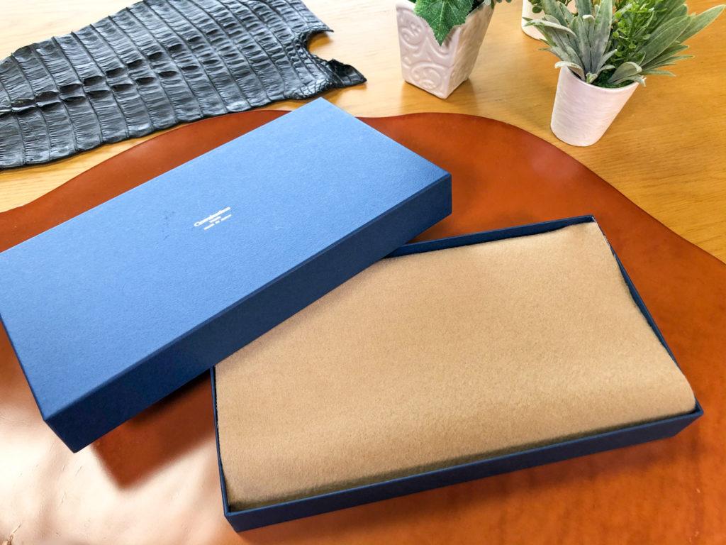 ブリランテ×クロコダイル ラウンドジップ長財布と外箱